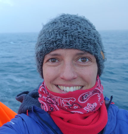Head and shoulder photo of SAMS biogeochemist Robyn Tuerena during an oceanographic expedition
