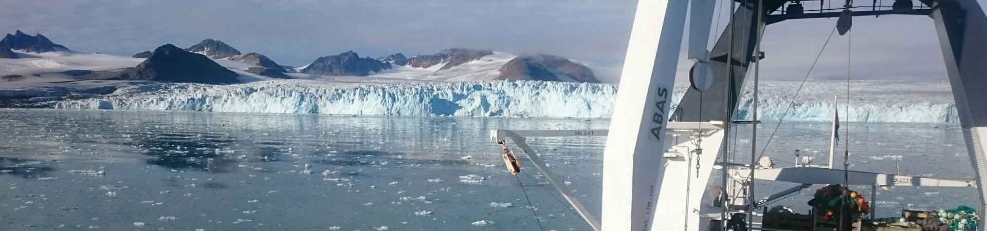 View from icebreaker research vessel of Arctic glacier