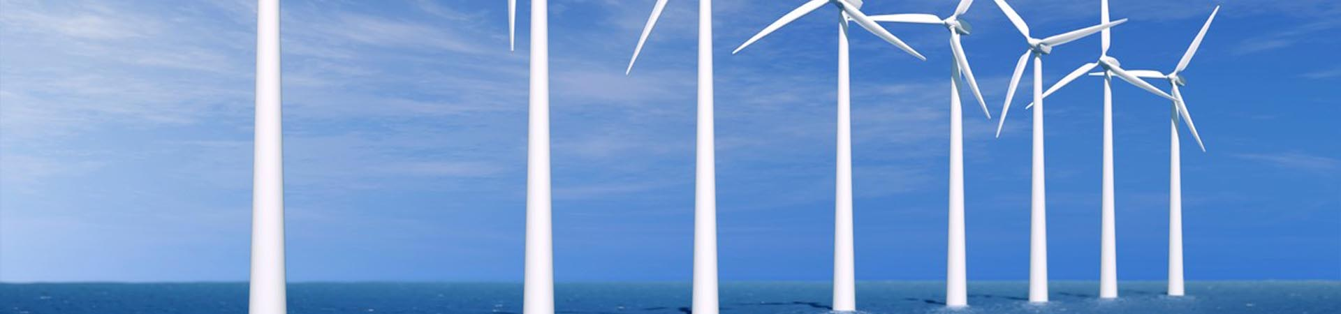Image showing a row of offshore wind turbines