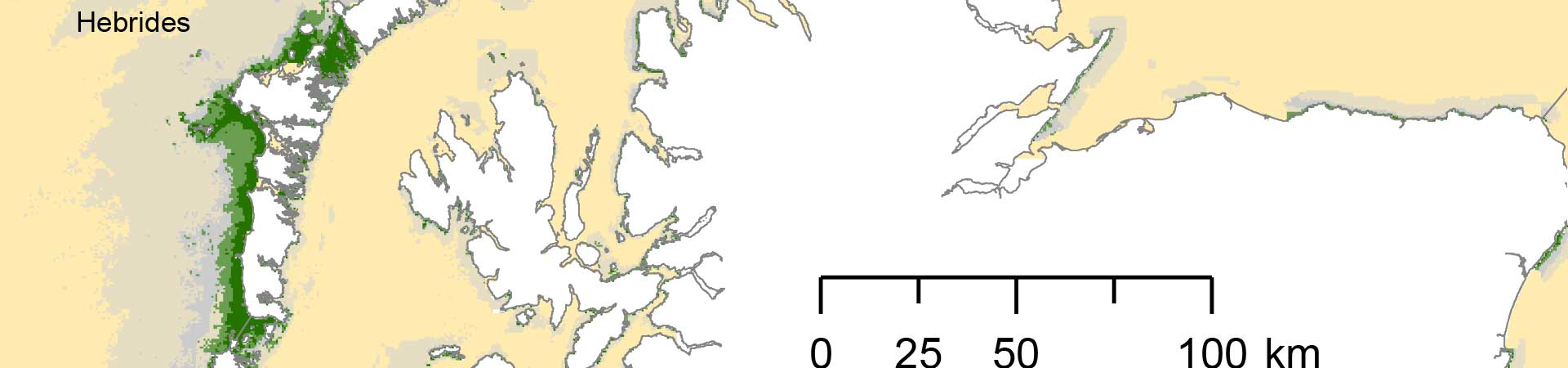 Map showing rates of kelp carbon assimilation around Scotland's coast