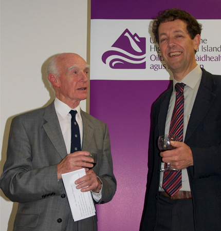 Former SAMS Director Jack Matthews and SAMS Director Prof Laurence Mee celebrate the award of university title to UHI