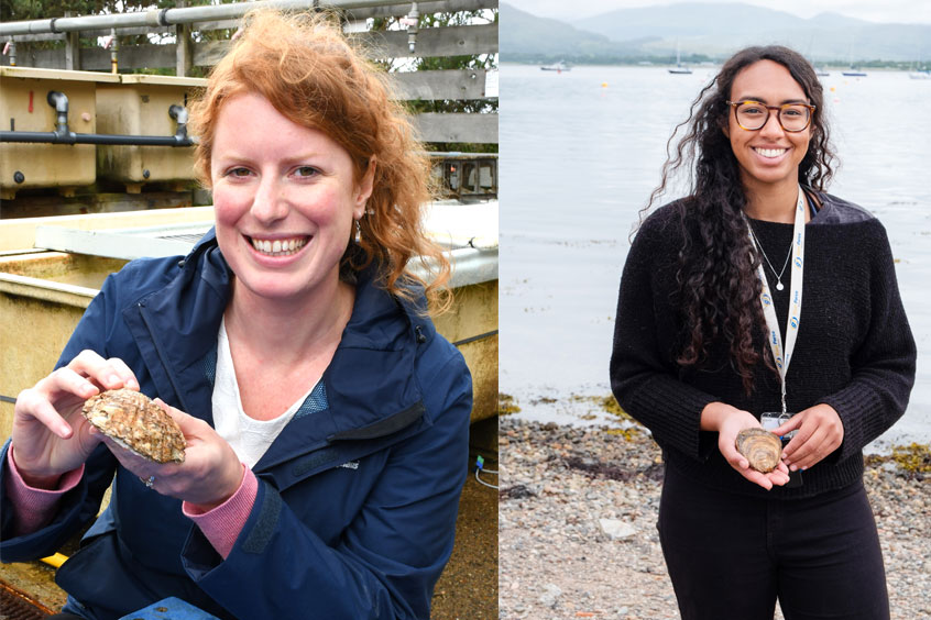Dr Mairi Cowan and her MSc student Aaliyah Malla with native oysters