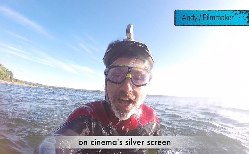 SAMS filmmaker Andy Crabb took to the waves as a shark to film his line