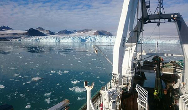 Lillehookbreen glacier can be seen from on board the research vessel Helmer Hanssen north-west of Spitsbergen, Svalbard