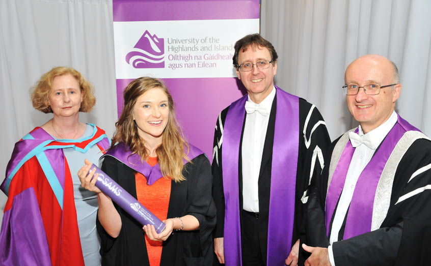Eleanor Wood, the first person to be awarded a University of the Highlands and Islands' Master of Science by Research Degree, with Director of Studies Dr Michele Stanley of SAMS UHI and the University of the Highlands and Islands' Dean of Research Michael Rayner and Vice-Principal for Research Prof Neil Simco.