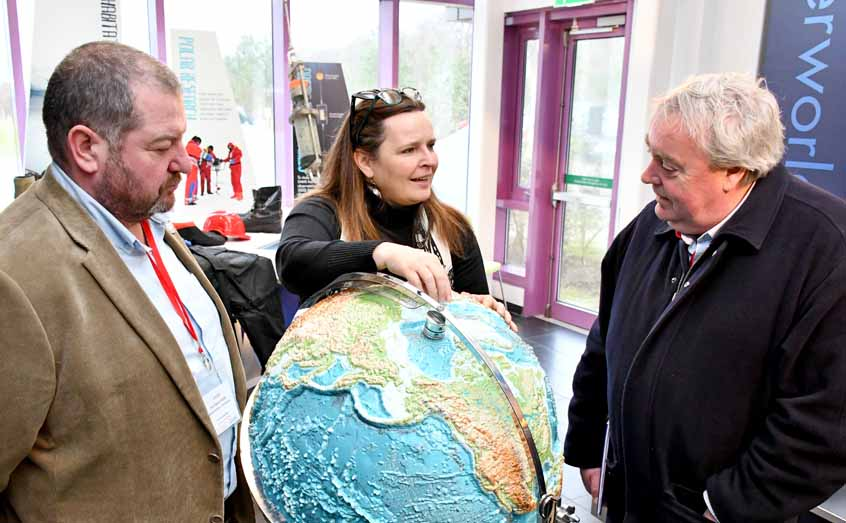 VisitScotland chief executive Malcolm Roughead, right, and Argyll regional director David Adams McGilp get a tour of the Ocean Explorer Centre with SAMS' head of communications Dr Anuschka Miller