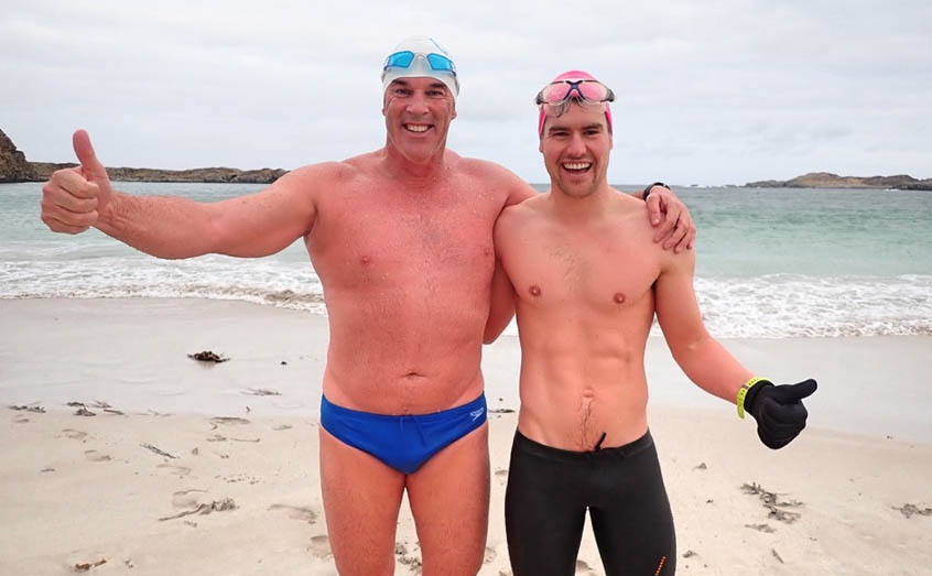 Lewis Pugh, left, UN Patron of the Oceans, found the ideal training partner in SAMS oceanographer Dr Max Holloway ahead of his epic Antarctic swim challenge.