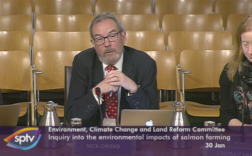 SAMS Director Prof Nicholas Owens gives evidence to the Environment, Climate Change and Land Reform Committee at the Scottish Parliament