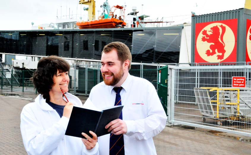 SAMS outreach officer Helen McNeill and David Henderson, a port assistant with competition sponsor CalMac, have their pens poised ahead of the Festival of the Sea writing competition.